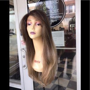 Ash blonde Wig 360 Fullcap human hair Blende Wig